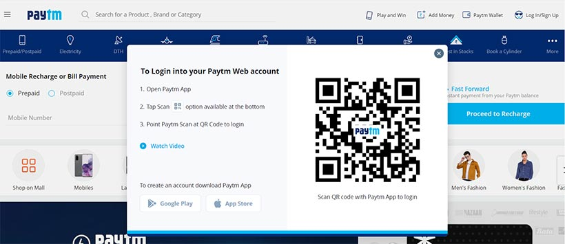 open a paytm account